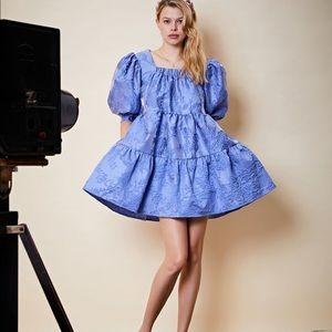 Sistet Jane Blue Puffsleeve  mini dress